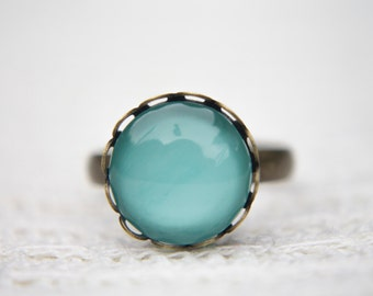 Mint Green Ring, Pastel Green Ring, Green Ring, Statement Ring, Adjustable Ring, Antique Bronze Ring, Glass Dome Ring