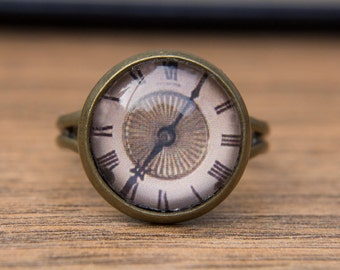 Clock Ring, Clock Face, Vintage Clock, Glass Dome Ring, Adjustable Ring, Statement Ring