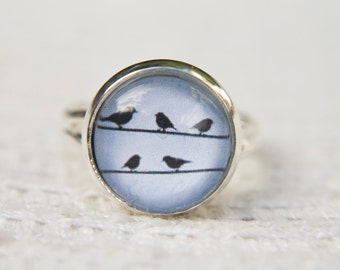 Bird Ring, Blue Bird Ring, Blue Ring, Birds on a Wire, Little Birds, Adjustable Ring, Statement Ring, Glass Dome Ring,
