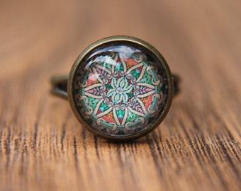Green Ring, Moroccan Ring, Glass Dome Ring, Adjustable Ring, Statement Ring, Middle Eastern Jewellery