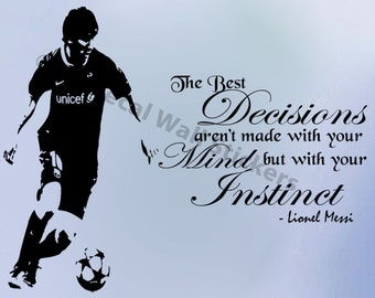 Lionel Messi Quote Wall Stickers Barcelona FC Player Wall Murals Vinyl Decals D4