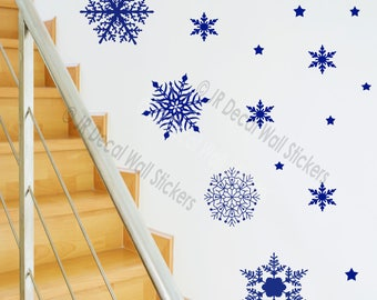 20 X Large Snowflakes Vinyl Wall Decals Christmas Shop Home Decor Art Removable wall Stickers JRD-SE-21