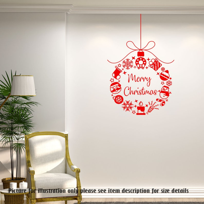 merry christmas wreaths vinyl wall decals christmas shop | etsy