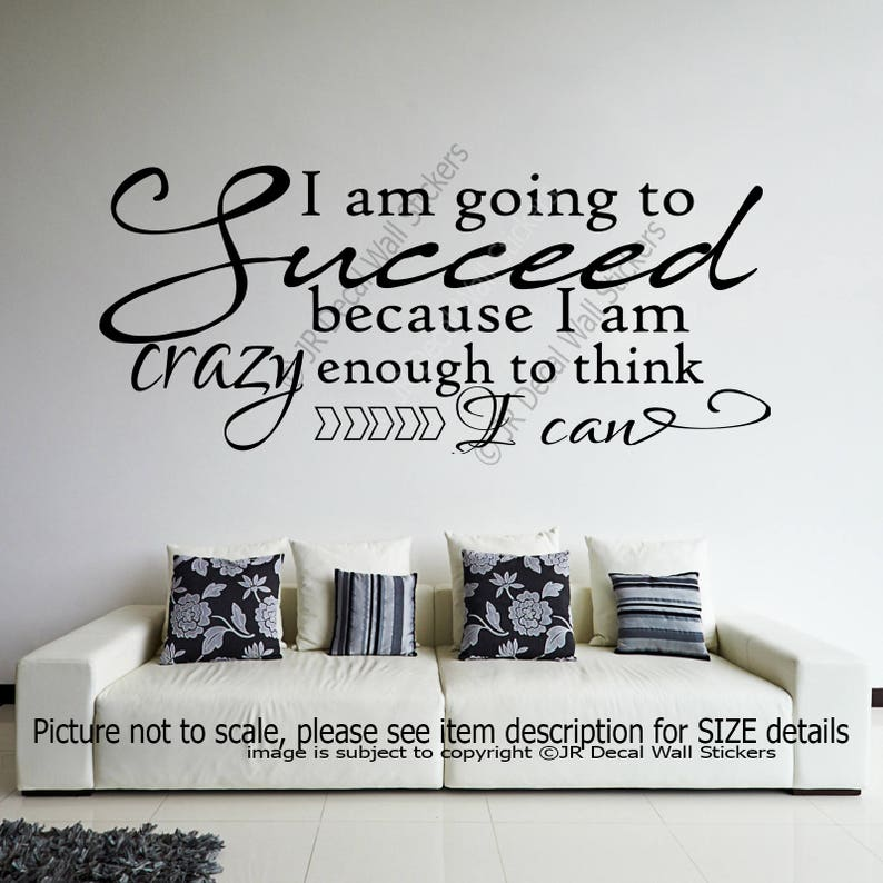 Gym Wall Decor I am going to Succeed office School Inspiring quote Removable Vinyl Wall Art Stickers Motivational Decal Bedroom