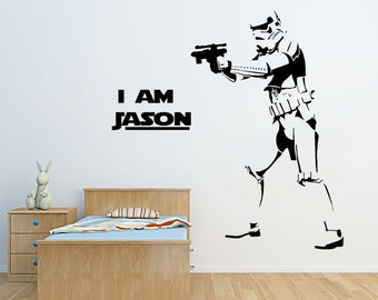 Star Wars STORMTROOPER Wall stickers starwars Personalized Name Vinyl Decals D2