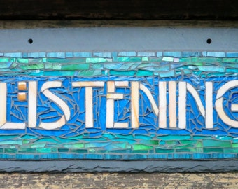 MADE TO ORDER Craftsman Style Listening Sign (or other 9 letter words)
