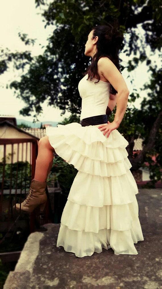 Steampunk Wedding Dress Bridal Dress Ruffles Mini Front Boned | Etsy