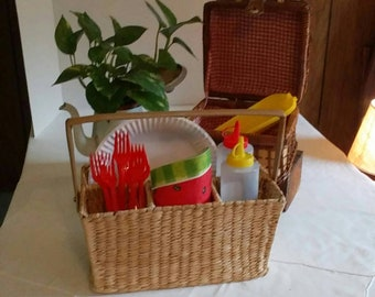 Vintage Wicker Picnic Caddy, Rattan Silverware Caddy, Craft Supply Caddy, Storage and Organization, 4 Compartment Caddy, Kitchen n dining