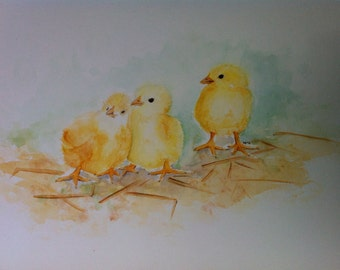 chicks - watercolor