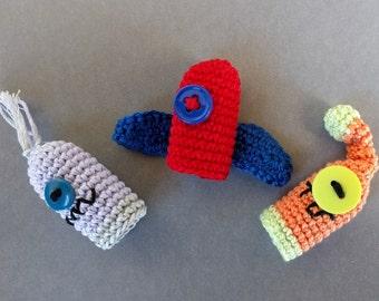 Set of 3 Cute Monster Finger Puppet Set, Amigurumi Finger Puppet, Monster Crochet Finger Puppets, Crochet Toys, Halloween Monster, Baby gift