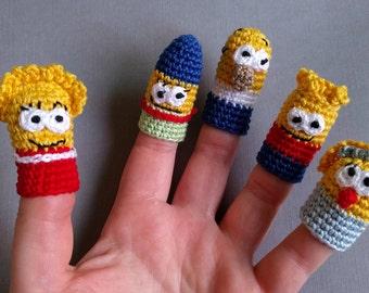 The Simpsons Family Finger Puppets, Finger Puppets, Crochet Finger Puppets, Crochet Toys, Puppet toys, Crochet Toys, Simpsons Crochet