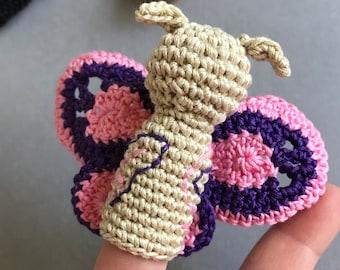 Set of 3 Bugs Finger Puppets, Animal Finger Puppets, Finger Puppets, Animals Crochet Finger Puppet, Crochet Toys, Baby shower, gift for kids