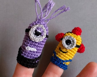 Set Evil Minion Finger Puppet, Fireman Minion Finger Puppet, Amigurumi Finger Puppets, Purple Minion Crochet Finger Puppets, Crochet Toys