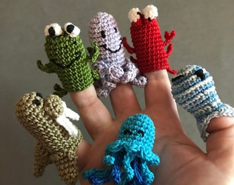Aquatic Animal Finger Puppets, Crochet Toys