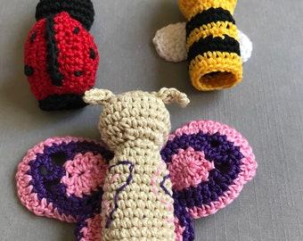 Bugs Finger Puppets, Animal Finger Puppets, Crochet Toys, Baby shower, Gift for kids