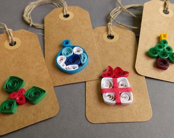 Christmas Tags, Christmas Quilling Tags, Quilling Tags, Paper Gift Tags, Quilling Gift Tags,Gift Tags,Paper Quilled Tags,Christmas gift tags
