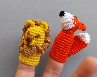 Set of 2 Lion and Fox Finger Puppets, Amigurumi Finger Puppets, Aesop Lion and Fox Crochet Finger Puppets, Crochet Toys