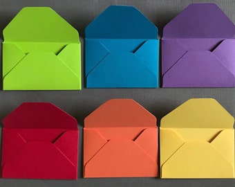 Set of 6 card stock envelopes, 65lb heavy weight card stock envelopes, rainbow  handmade envelopes