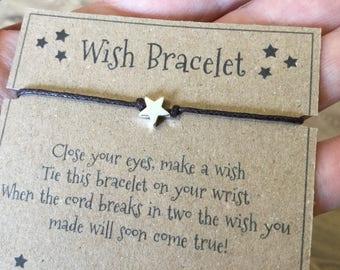 wish bracelet, wish bracelets, dainty bracelet, star bracelet, gift for her, teenage girl gift, stocking filler, girls gift, bestfriend gift
