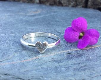 Fingerprint, stacking ring, fingerprint ring, gift for her,Keepsakejewellery, silver ring, silver ring, gift for mum, gift of love