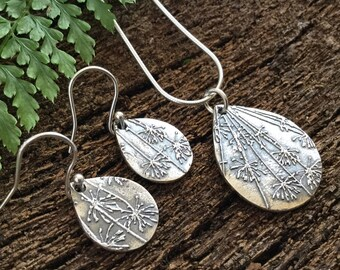 Reversable patterned Earring and necklace set