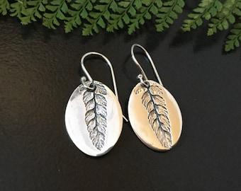 Fern earrings, drop earrings, plant earrings, plant lovers gift, gardeners gift, oval earrings, silver earrings, gift for mom, gift for her