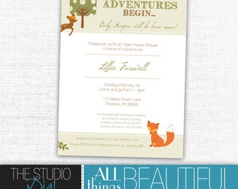 PRINTABLE Very Cute Baby Shower Invitations with Woodland Forest Animals with Outdoor Theme