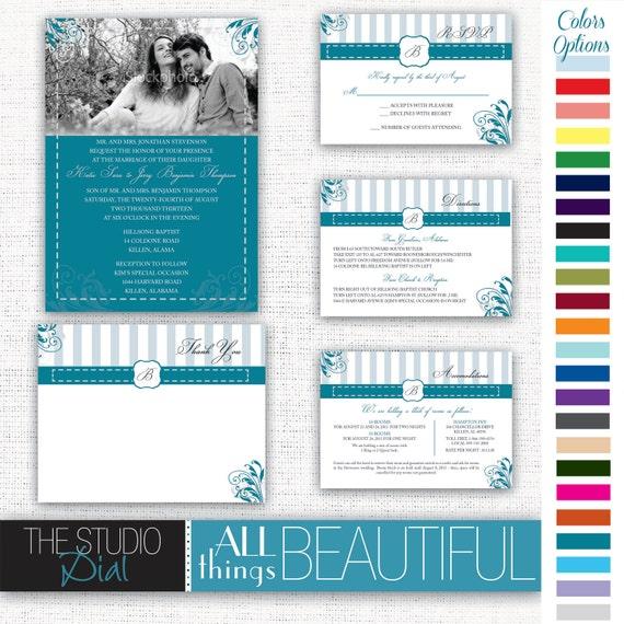 Printable Wedding Invitation Sets: PRINTABLE Wedding Invitation 5-piece Set With Photo And