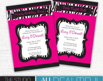 PRINTABLE Birthday Party or Bachelorette Party Invites - Pink and black with zebra accents