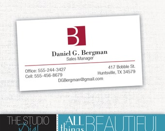 ON SALE - PRINTABLE Classy Monogram Business Card or Calling card design with custom colors