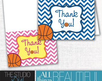 INSTANT DOWNLOAD - PRINTABLE Cute Chevron Basketball Themed Baby Shower Thank You cards to match invitations!