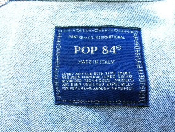 size in made Pop jacket jeans 84 Vintage 1980s L italy wOvqPH4OZ