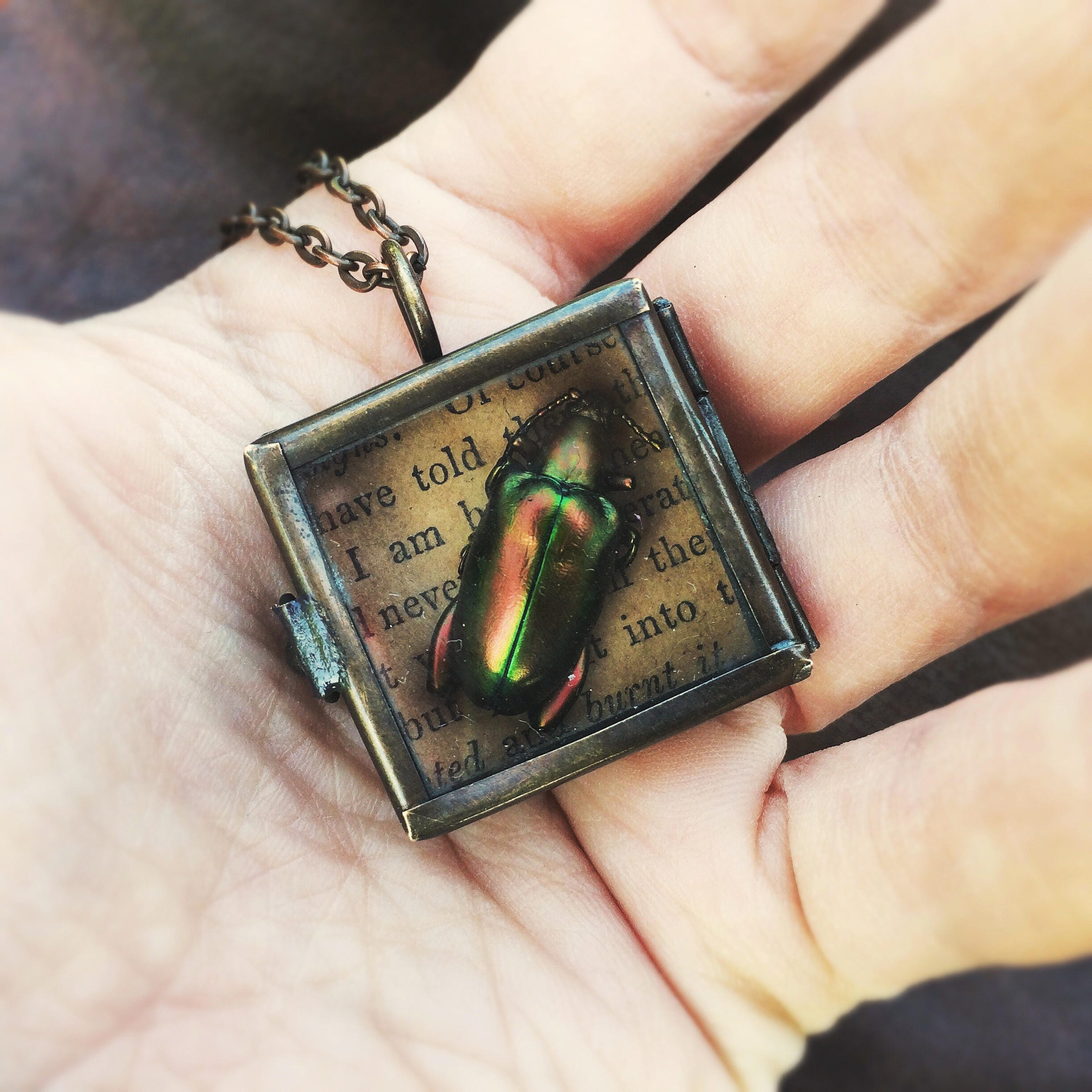 Green and Red Real Jewel Beetle Bronze Square Shadow Box Locket