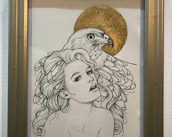 HAWK SPIRIT - drawing, gold leaf