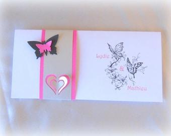 fuchsia, black and White Butterfly invitation