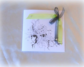 White, black and lime green square invitations
