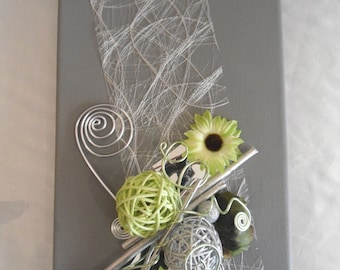 Gray and lime green photo holder table