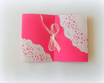 """set of 10 do hot pink girl birth announcement """"lace"""" Ribbon organdza"""