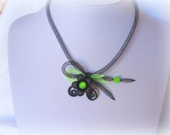 black and lime green tubular NET necklace