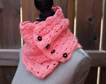 Crochet Lace Infinity Scarf with Buttons