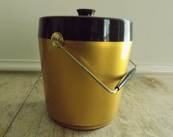 Vintage Thermo-Serv by Westbend Ice Bucket   Mid Century Gold and Black Insulated Ice Bucket