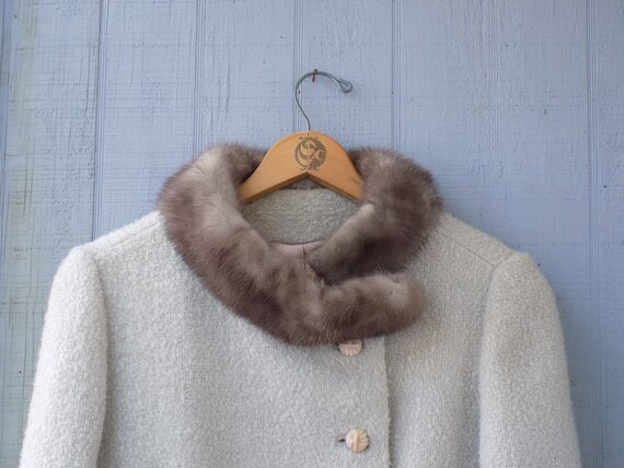 Vintage Mink Collar Ivory Wool Blend Bouclé Jacket
