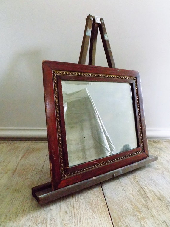 Antique Silvered Glass Mirror In Solid Wood Frame Gold Trim Etsy