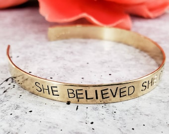 Motivational Gift for Her Word of the Year I AM ENOUGH Stacking Cuff Bracelet Mental Health Reminder for New Mom Feminist Jewelry