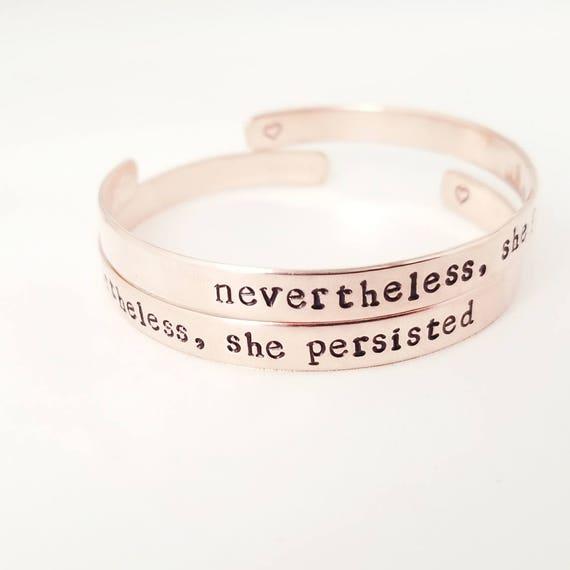 Nevertheless She Persisted Bracelet Personalized Bracelet Etsy