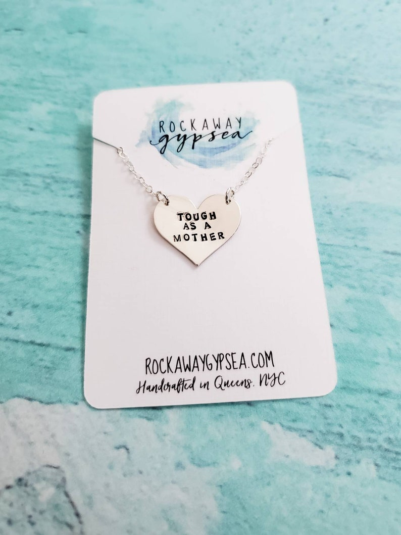 Tough as a Mother Christmas Gift for Mom Personalized Necklace for her Feminist Necklace Funny for Women Mom Heart Necklace