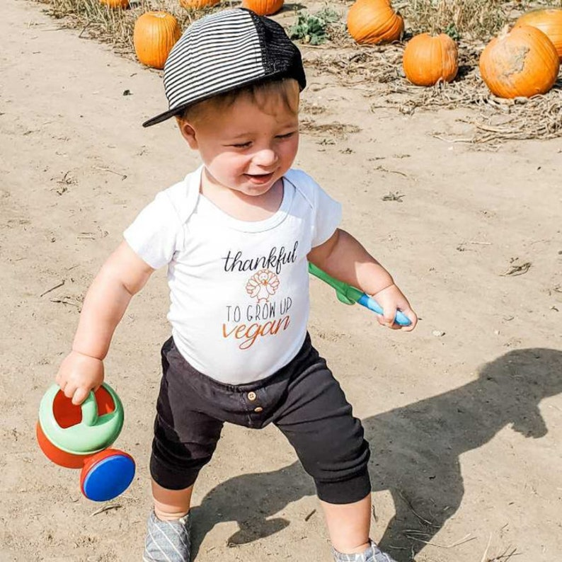 Thankful To Grow Up Vegan Short Sleeve One Piece Toddler Animal Lover VEGAN THANKSGIVING Baby Bodysuit First Turkey Day Newborn Shirt