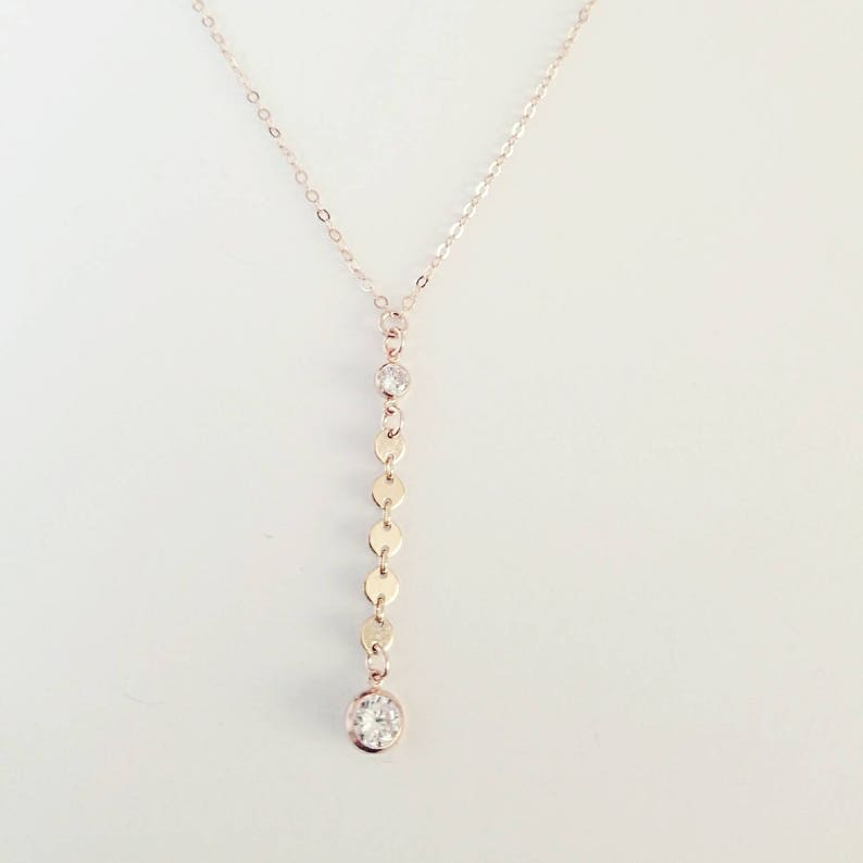 Lariat Y Necklace Night on the Town Mother/'s Day Gift Rose Gold CZ Necklace Pink Crystal Bridal Necklace Rose Gold Lariat Coin
