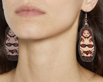 Sexy Matryoshka Nesting Doll in Lingerie Earrings, super light weight, gift for her