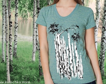b97949d1 Women's Birch Tree Tshirt | For Nature Lovers or Russophiles